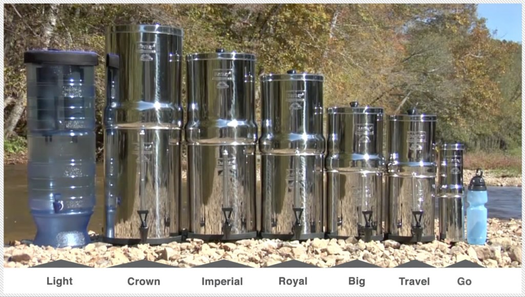 Line of Berkey Multi-Use Water Filtration units