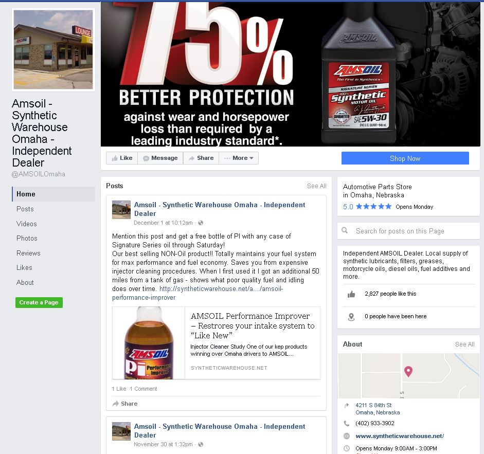 Omaha AMSOIL Facebook Page