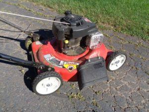 lawn mower which needs cleaning