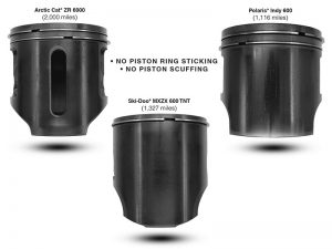 clean pistons thanks to AMSOIL Interceptor 2-cycle oil in sleds