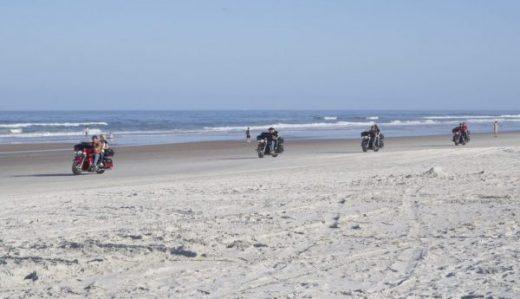 Harley's on beach. Salty sand